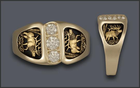 Men's 3 Diamond Elk Wedding Ring