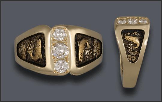 Men's 3 Diamond Fishing Wedding Ring