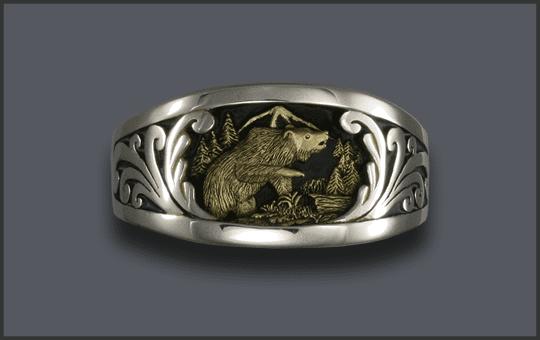 Men's Silver Bear Ring