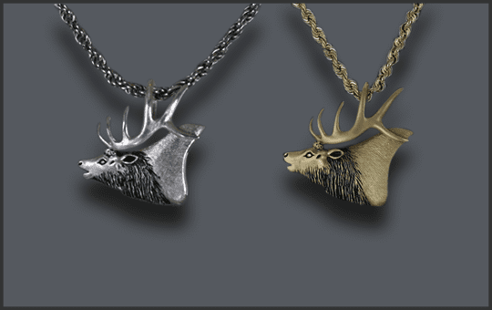 Men's Elk Head Pendants
