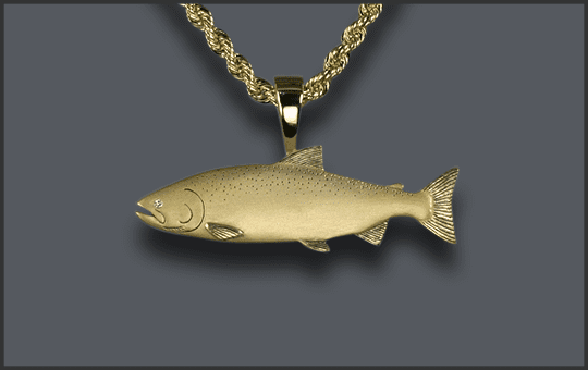 Men's Chinook Salmon Pendant With Diamond Eye