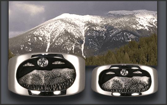 Men's and Women's Goat Mountain Wedding Rings