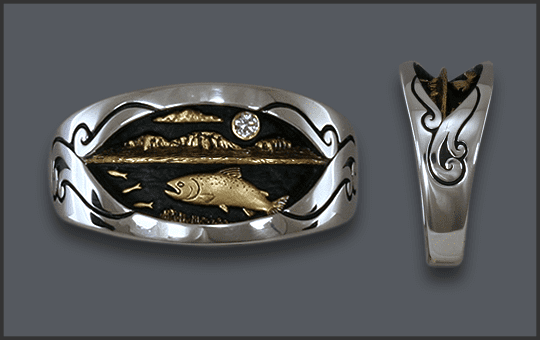 Men's Silver Chinook Ring with Diamond moon