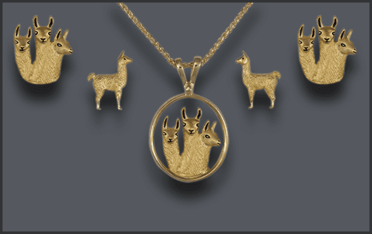 Women's 3 Llama Pendant and Earring Set