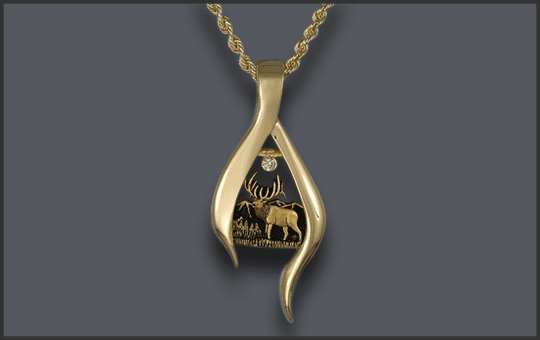 Women's 14k Bull Elk Pendant with Diamond Moon