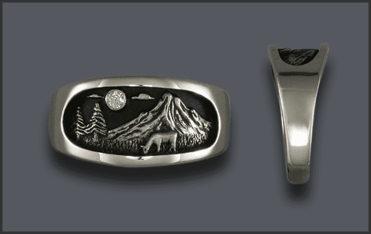 Women's Silver Cow Elk Ring With Diamond Moon