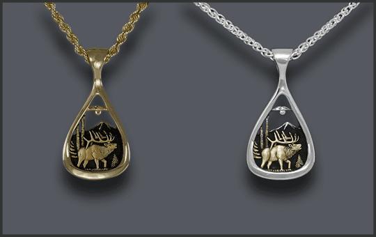 Women's Elk Pendant Teardrop 14k and Silver