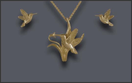 Women's 14k Hummingbird Pendant and Earring Set