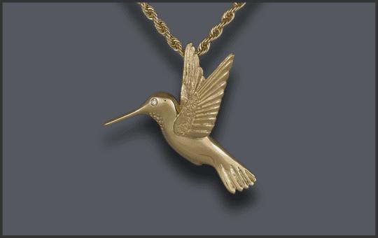 Women's 14k Hummingbird Pendant With Diamond Eye