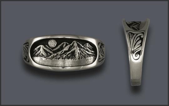 Women's Silver Mountain Ring With Diamond Moon