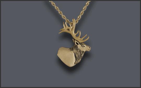 Women's 14k Elk Head Pendant Small