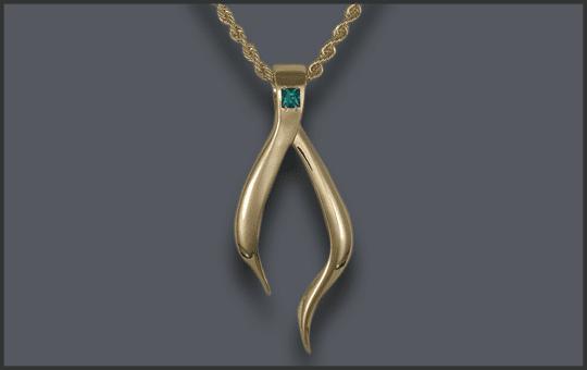 Women's 14k Wishbone Pendant with Birthstone