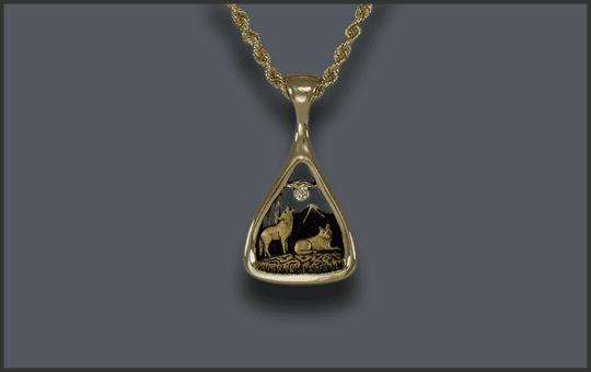 Women's 14k Wolf Pendant With Diamond Moon