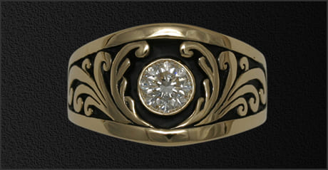 Men's 1 ct diamond ring with scroll sides