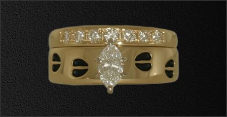 Women's Marquis Diamond Ring with Tracks