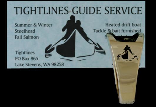 Custom Men's Fishing Wedding Ring with Business Logo on Sides