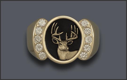 Men's 10 Diamond Whitetail Deer Head Ring
