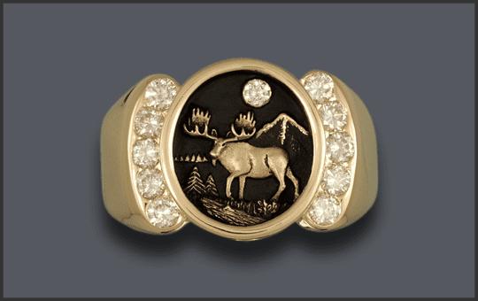 Men's 14k 11 Diamond Moose Ring