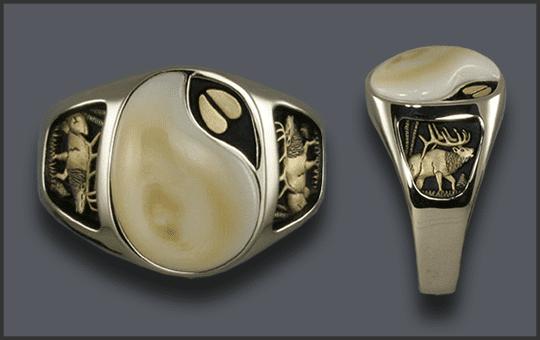 Men's 14k White Gold Ivory Ring with Elk Track