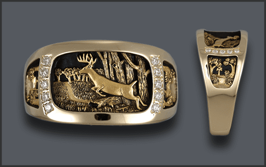 Men's Custom Jumping Whitetail Deer Ring With Diamonds
