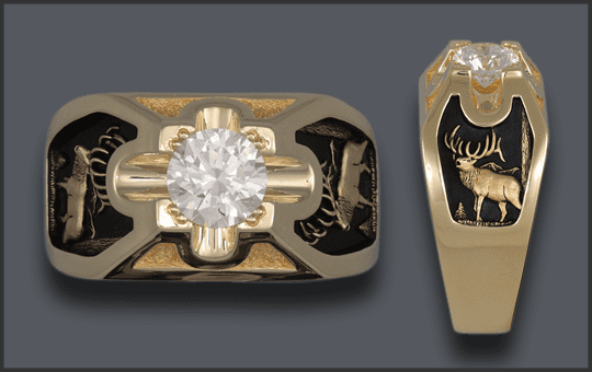 Men's 14k 2ct diamond bull elk ring