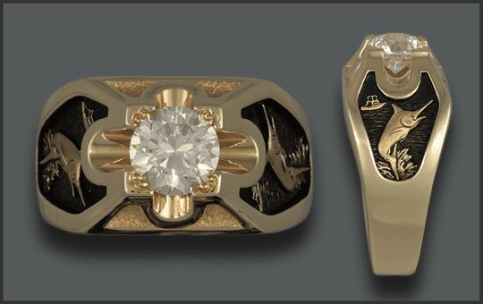 Men's 14k 2ct Diamond Marlin Ring