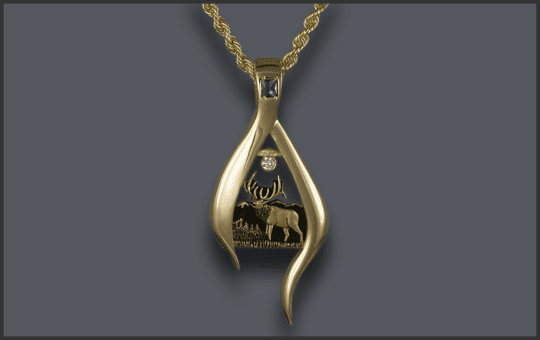 Women's Bull Elk Pendant With Diamond and Birthstone