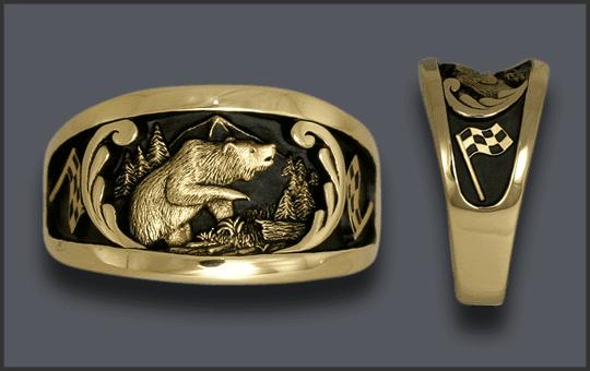 Men's Custom Bear Ring With Checkered Race Flag on each side