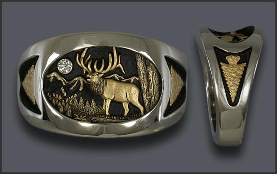 Men's White Gold Custom Bull Elk Ring With Arrowhead on each side