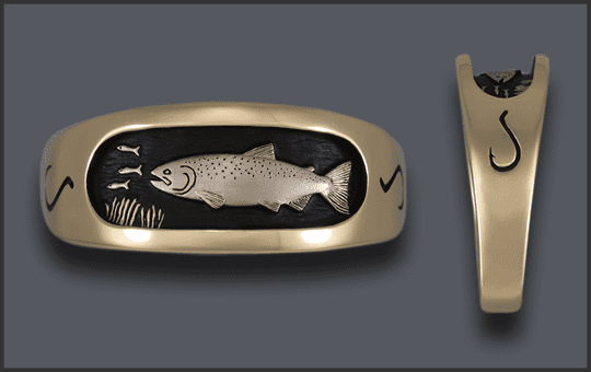 Men's 14k Chinook Salmon Ring With Chrome White Salmon and Hook On Sides