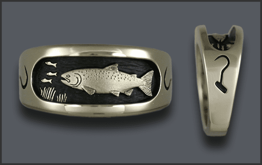 Men's Custom White Gold Chinook Salmon Ring With Longshore Hook on Each Side