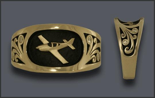 Men's Custom GlasAir Airplane Ring With Diamonds