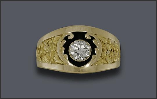 Men's Custom 1ct Diamond Nugget Ring