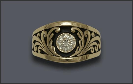 Men's Custom 1ct Diamond Scroll Ring