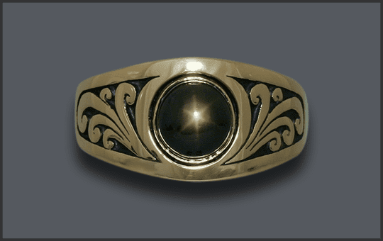 Men's Custom Black Star Sapphire Scroll Ring