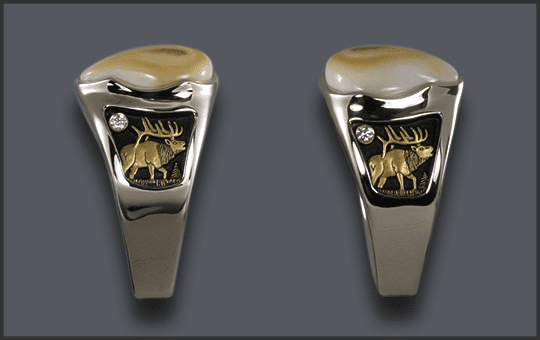 Men's Custom Ivory Ring With Diamonds Added on Sides SideViews