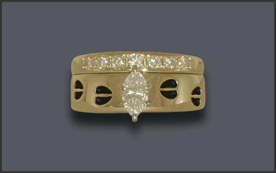 Women's 14k Custom Marquis Diamond Solitaire Ring With Tracks