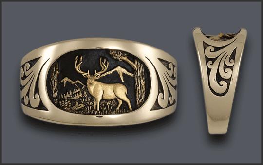 Men's 14k Mule deer Ring