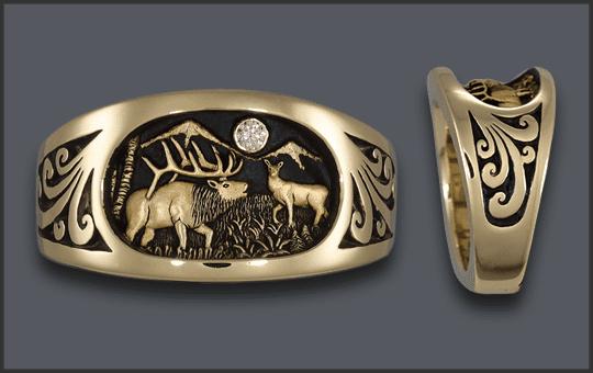 Men's Elk Ring with Diamond Moon and Cow Elk