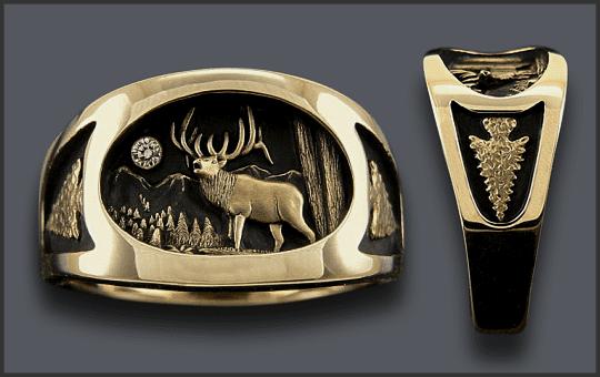 Men's Bull Elk Ring with Arrowhead on sides