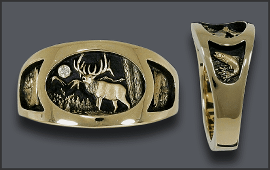 Men's Bull Elk Ring with Jumping Fish on sides