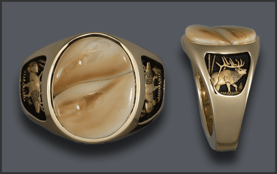 Men's Custom Ivory Ring with Two Ivories