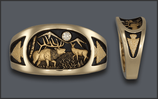 Men's Elk Ring With Diamond Moon and Knapped Arrowhead on the sides