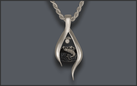 Women's Silver Jumping Fish Pendant With Diamond Moon